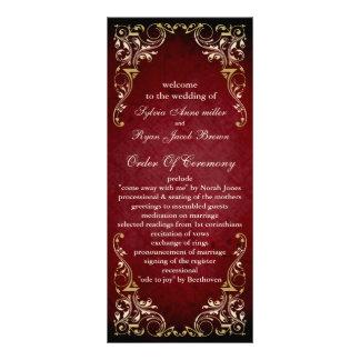 rustikales rotes königliches Hochzeitsprogramm Personalisierte Werbekarte