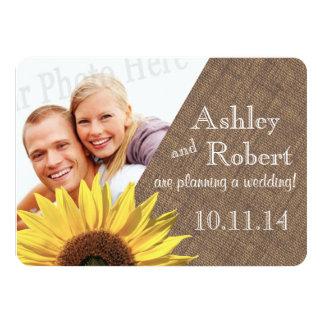 Rustikales Spitze-und Sonnenblume-Foto Save the 11,4 X 15,9 Cm Einladungskarte