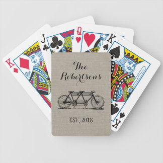Rustikales Vintages Fahrrad-Hochzeits-Monogramm Bicycle Spielkarten