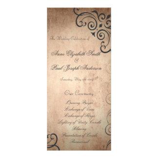 Rustikales Vintages Hochzeits-Programm Individuelle Werbekarte