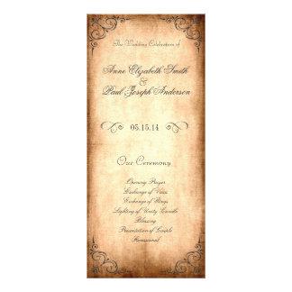 Rustikales Vintages Hochzeits-Programm Werbekarte