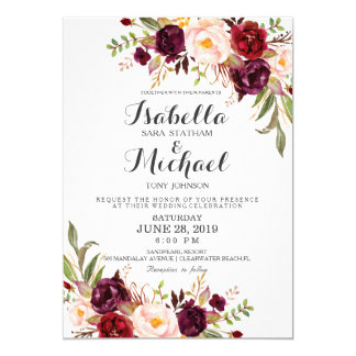Rustikales Wedding Blumeninvitation-01 Karte