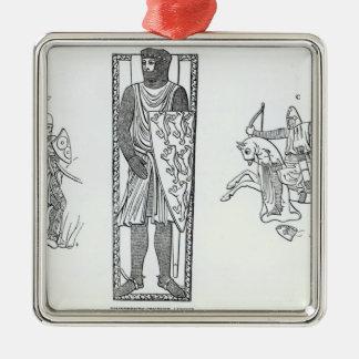 Rüstung des 13. Jahrhunderts Quadratisches Silberfarbenes Ornament