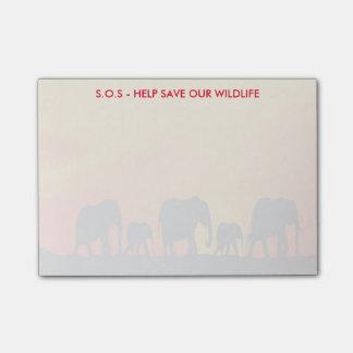 S.O.S Hilfe retten unsere wild lebenden Tiere Post-it Klebezettel