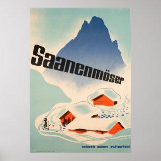 Saanenmöser die Schweiz Vintages Reise-Plakat Poster