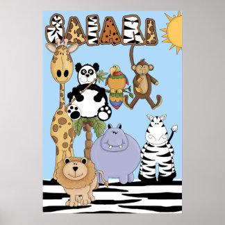 Safari-Tier-Kinderzimmer-Plakat Poster