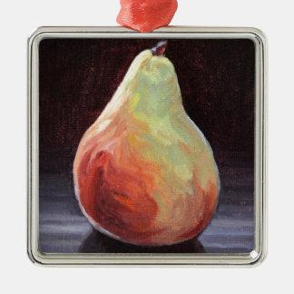Saftige Birne Quadratisches Silberfarbenes Ornament