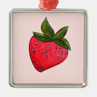 Saftige fruchtige rote Erdbeere auf Rosa Quadratisches Silberfarbenes Ornament