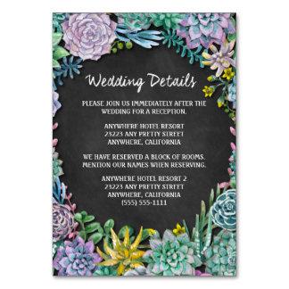 Saftige Kreide-Hochzeits-Empfangs-Einsatz-Karten Karte