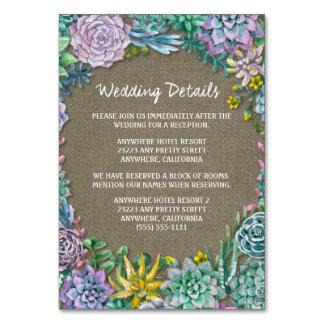 Saftige Leinwand-Hochzeits-Empfangs-Einsatz-Karten Karte