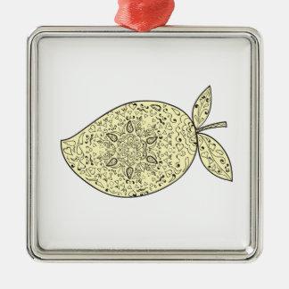 Saftige Mango-Frucht-Mandala Quadratisches Silberfarbenes Ornament