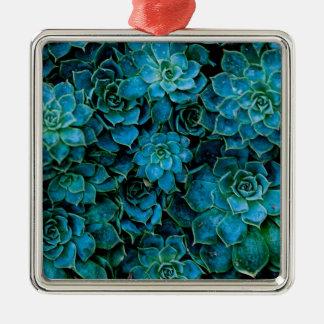 Saftige Pflanzen Quadratisches Silberfarbenes Ornament