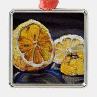 Saftige scharfe Zitrone halb Quadratisches Silberfarbenes Ornament