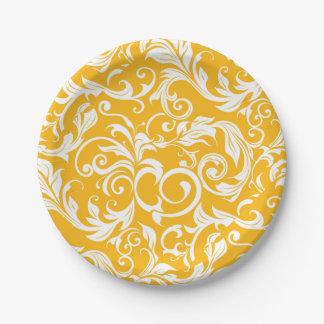 Saftige Zitrusfrucht-orange Strudel-Monogramm Pappteller