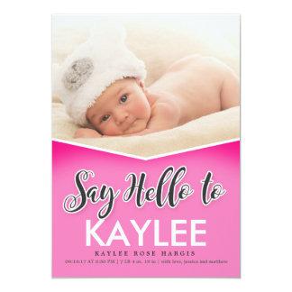 Sagen Sie hallo Geburt Announcment | BABY 12,7 X 17,8 Cm Einladungskarte