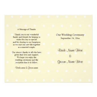 SahnefarbTupfen-Hochzeits-Programm Flyer