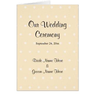 SahnefarbTupfen-Hochzeits-Programm Karte