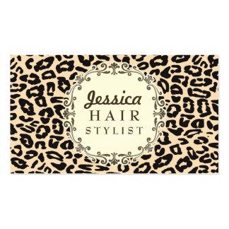 Sahneleopard-Druck-Haar-Stylist-Verabredungs-Karte Visitenkarten Vorlagen