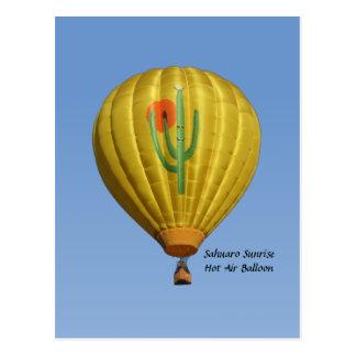 Sahuaro Sonnenaufgang-Heißluft-Ballon-Postkarte Postkarte