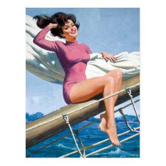 Sailing PinUp Postkarte