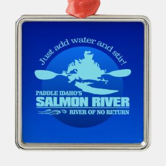 Salmon River (blau) Silbernes Ornament