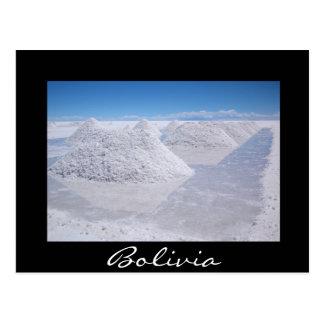 Salz Salars de Uyuni häuft schwarze Grenzpostkarte Postkarte