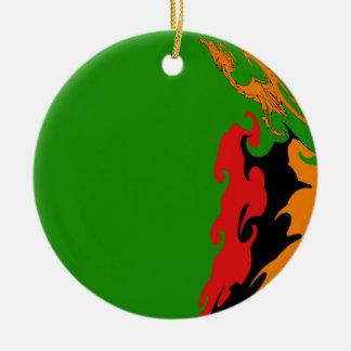 Sambia-Gnarly Flagge Rundes Keramik Ornament