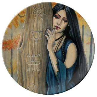 Samhain gotische Herbst-Hexe-dekorative Platte Teller
