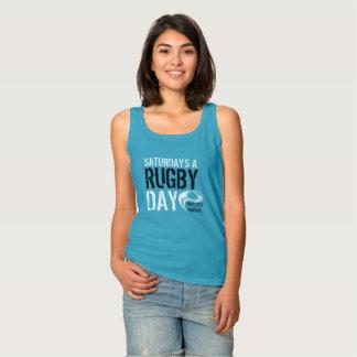 Samstages ein Rugby-Tag-BLAU Tank Top