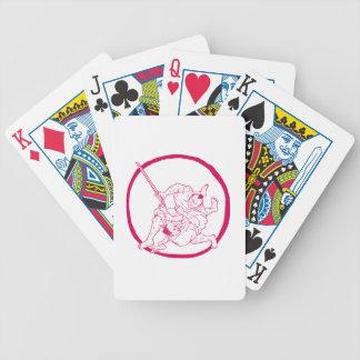Samurai Jui Jitsu, der Enso Zeichnen kämpft Bicycle Spielkarten