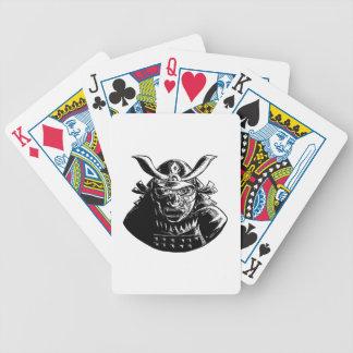 Samurai-Krieger, der Mempo Holzschnitt trägt Bicycle Spielkarten