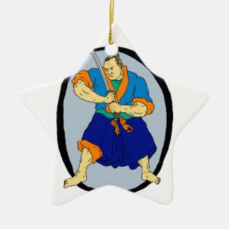 Samurai-Krieger Katana Enso Keramik Ornament