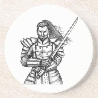 Samurai-Kriegers-Kampf-Positions-Tätowierung Getränkeuntersetzer