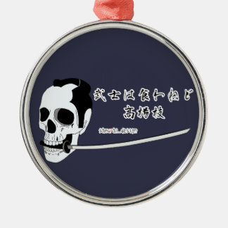 Samurai-Schädel Silbernes Ornament