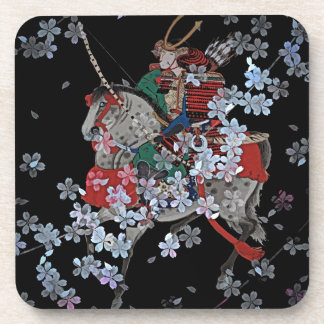 Samurai-Untersetzer mit Korkenrückseite - Set von Untersetzer