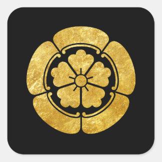 Samuraiclan-Imitatgold Oda Montag japanisches auf Quadratischer Aufkleber