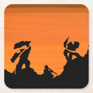 Samurais am Sonnenuntergang Rechteckiger Pappuntersetzer