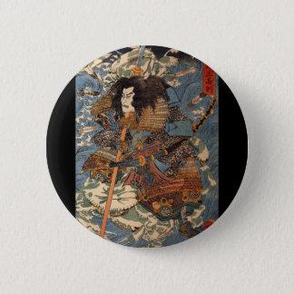 Samurais, die auf die Rückseiten der Krabben C. Runder Button 5,1 Cm