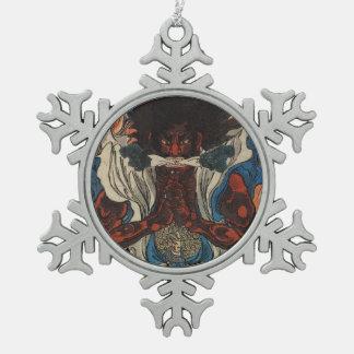 Samurais Schneeflocken Zinn-Ornament