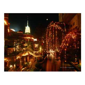 San Antonio Riverwalk nachts Postkarte
