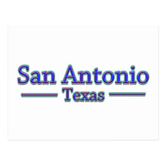 San Antonio Texas in Blauem u. im Rot - auf Weiß Postkarte