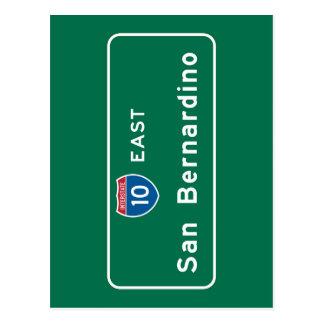 San Bernardino, CA-Verkehrsschild Postkarte