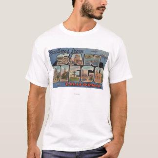 San Diego, Kalifornien - große Buchstabe-Szenen T-Shirt