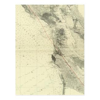 San Francisco Bay, das San- Andreasriß zeigt Postkarte