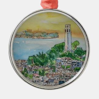 San Francisco Dämmerungs-Sonnenuntergang über Coit Silbernes Ornament