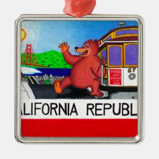 San Francisco Kalifornien Bärn-Flagge 2 Silbernes Ornament