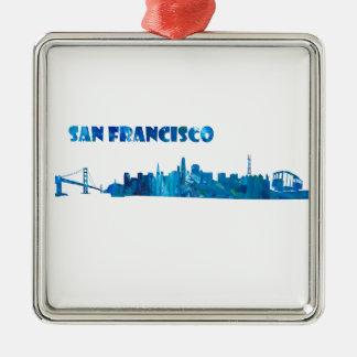 San Francisco Skyline-Silhouette Silbernes Ornament
