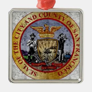 San Francisco Vintage Seal Silbernes Ornament