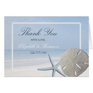 Sand-Dollar und Starfish-Strand-Hochzeit danken Mitteilungskarte