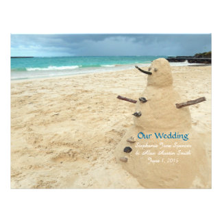 Sandsnowman-Strand-Hochzeits-Programm-Flyer Flyer